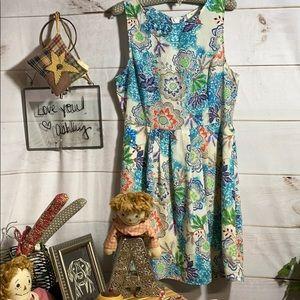 Everly; Floral; Midi; Shift; Dress; L